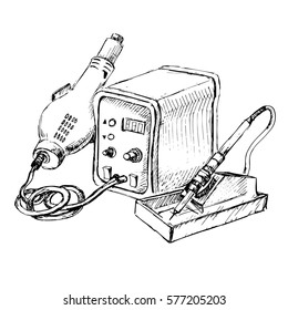 Sketch of Hot Air Rework Soldering Iron Station. Vector illustration.