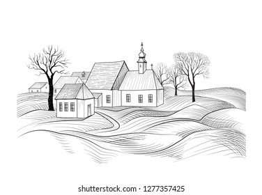 Sketch of house architecture. Country side skyline with perspective of exterior house