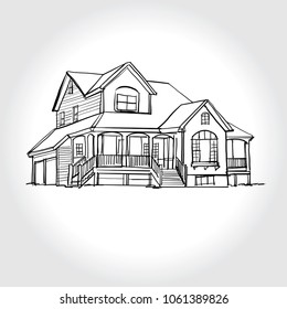 Sketch of  house architecture .Drawing  free hand  Vector illustration.outline sketch drawing perspective of exterior house.