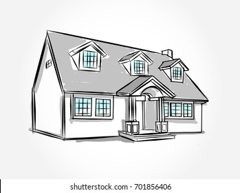 architecture houses sketch. Sketch Of House Architecture .Drawing Free Hand Vector Illustration.outline Drawing Perspective Houses