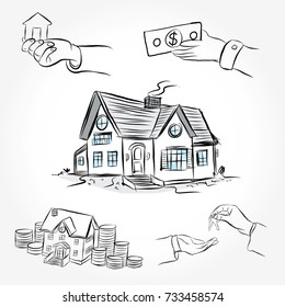 Sketch of  house architecture. Drawing  free hand. Idea for buy the house. Draw money icon cartoon style.