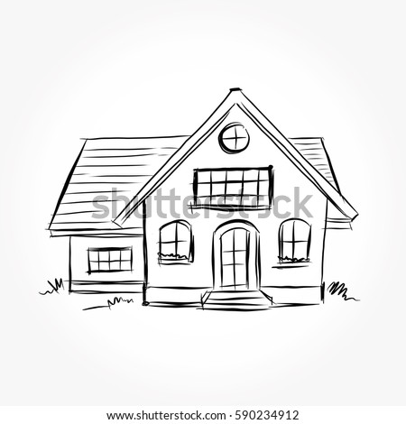 Sketch House Architecture Drawing Free Hand Stock Vector Royalty