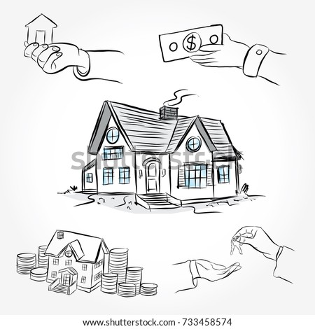 Beautiful Sketch Of House Architecture. Drawing Free Hand. Idea For Buy The House.  Draw