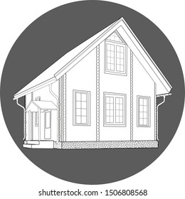 sketch of a house, black and white on a dark background in an oval.vector.