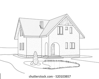 A sketch of the house with a loft and a small pond in front of him. Vector illustration.