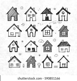 Sketch of houses on rice paper background. Vector illustration.