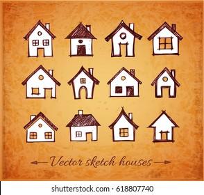 Sketch of houses on vintage background. Vector illustration.