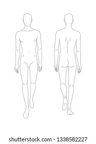 Sketch of the human body. Front and back view. Put your hands along the length of the body, legs in motion. Pattern of the human body for drawing clothes. You can print and draw directly on sketches.