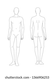 Sketch of the human body. Front and back view. Put your hands along the body. Pattern of the human body for drawing clothes. You can print and draw directly on sketches.