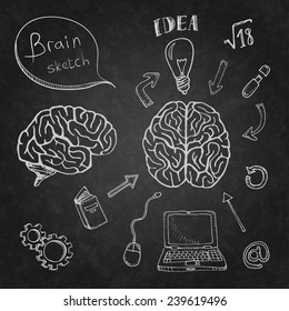Sketch of human brain and ability. Doodles icons set on chalkboard. Vector illustration.