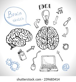 Sketch of human brain and ability. Doodles icons set isolated. Vector illustration.