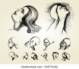 sketch of human face expression
