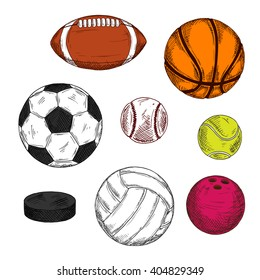 Sketch of ice hockey puck with balls for soccer, american football or rugby, volleyball, baseball, basketball, bowling and tennis. Sporting items for competition theme or sport club design usage