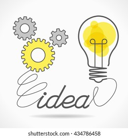Sketch icon gears, light bulb and the word Idea. File is saved in AI10 EPS version.