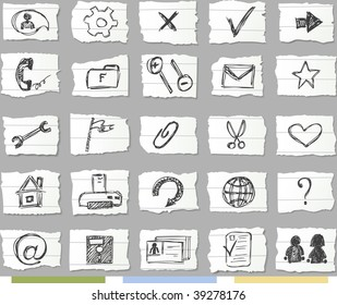 Sketch icons on ripped paper.Available 4 colors of background and shadows on it.Set 2