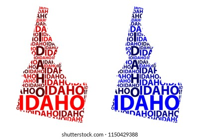 Sketch Idaho (United States of America) letter text map, Idaho map - in the shape of the continent, Map Idaho - red and blue vector illustration