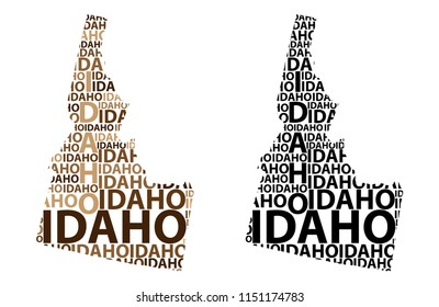 Sketch Idaho (United States of America) letter text map, Idaho map - in the shape of the continent, Map Idaho - brown and black vector illustration
