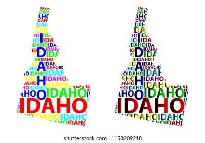 Sketch Idaho (United States of America) letter text map, Idaho map - in the shape of the continent, Map Idaho - color vector illustration