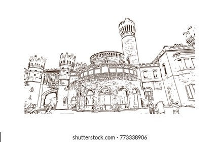 Sketch illustration of Bangalore Palace, Bangalore, India in vector