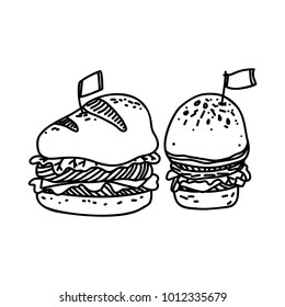 Sketch Illustration of Big Hamburger or Cheeseburger with Flag. Hand Drawn Icon on White Background