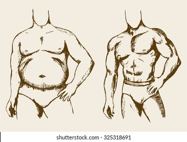 Sketch illustration of a fat and muscular man figure