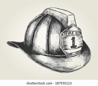 Sketch illustration of a firefighter helmet