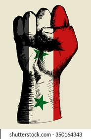 Sketch illustration of a fist with Syria insignia