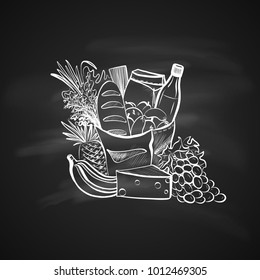 Sketch Illustration of Foods and Paper Shopping Bag. Hand Drawn Icon on Chalkboard