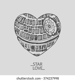 Sketch illustration of a love heart star wars Valentine's day
