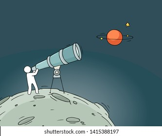 Sketch illustration - man with telescope. Doodle cute background about astronomy. Hand drawn cartoon vector education design.