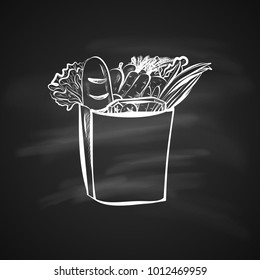 Sketch Illustration of Paper Shopping Bag with Food. Hand Drawn Icon on Blackboard