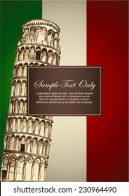 Sketch illustration of Pisa leaning tower on Italian flag color, for book cover or menu design template
