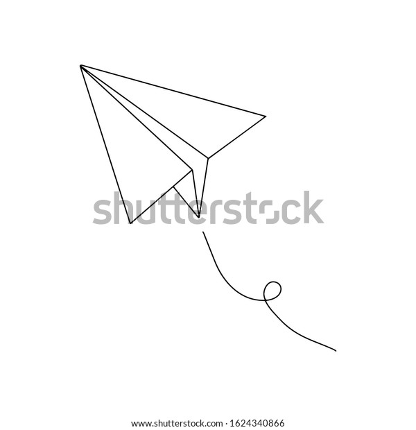 Sketch Illustration Simple Drawing Paper Airplane Stock Vector