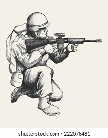 Sketch illustration of a soldier kneel down aiming a weapon