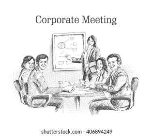 Sketch illustration of successful business people making strategy and plan.Vector office concept.