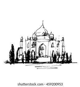 Sketch illustration of  the Taj Mahal in India. Hand drawn doodle.