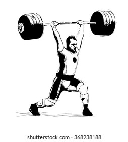 "The sketch illustration ""Weightlifter, clean and Jerk"""
