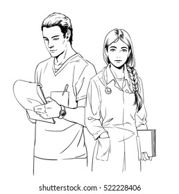 Sketch illustration of young woman doctor or a nurse and man surgeon, isolated on white background.