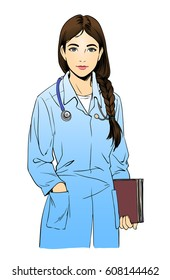 Sketch illustration of young woman doctor or a nurse, isolated on white background. Beautiful girl with brown hair, medical worker.