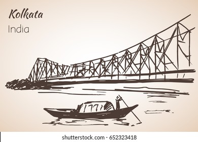 Sketch of indian city Kolkata bridge. Isolated on white background