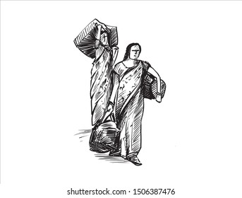 sketch of Indian female carry heavy stuffs, hand draw