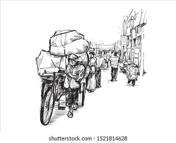 Sketch of Indian worker carries a heavy stuff on a bicycle at a local market in India, hand draw