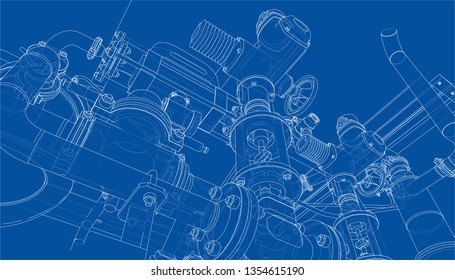 Sketch of industrial equipment. Vector rendering of 3d. Wire-frame style. The layers of visible and invisible lines are separated