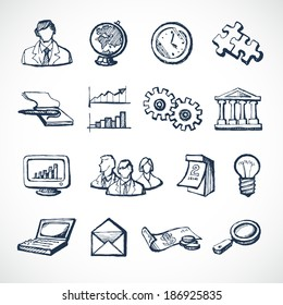 Sketch infographic icons set with globe clock computer puzzle money isolated vector illustration