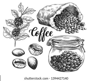 Sketch ink graphic coffee set illustration, draft silhouette drawing, black on white line art. Vintage etching food design.