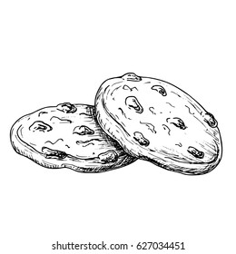 Sketch ink graphic cookies illustration, draft silhouette drawing, black on white background. Delicious vintage etching food design.