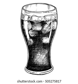 Sketch ink graphic glass with cola with ice drink illustration, vector draft silhouette drawing, black on white background. Delicious vintage etching food design.