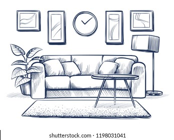 Sketch interior. Doodle living room with sofa, cushions and picture frames on wall. Freehand drawing home vector interior. Furniture sofa in room, apartment drawing illustration