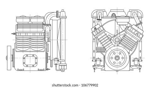 Sketch internal combustion engine. Vector EPS10