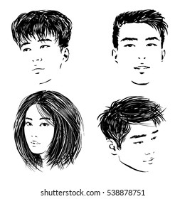 Sketch of the isolated Asian faces of the young people - the Chinese, Thai and Korean guys and Japanese girl.
